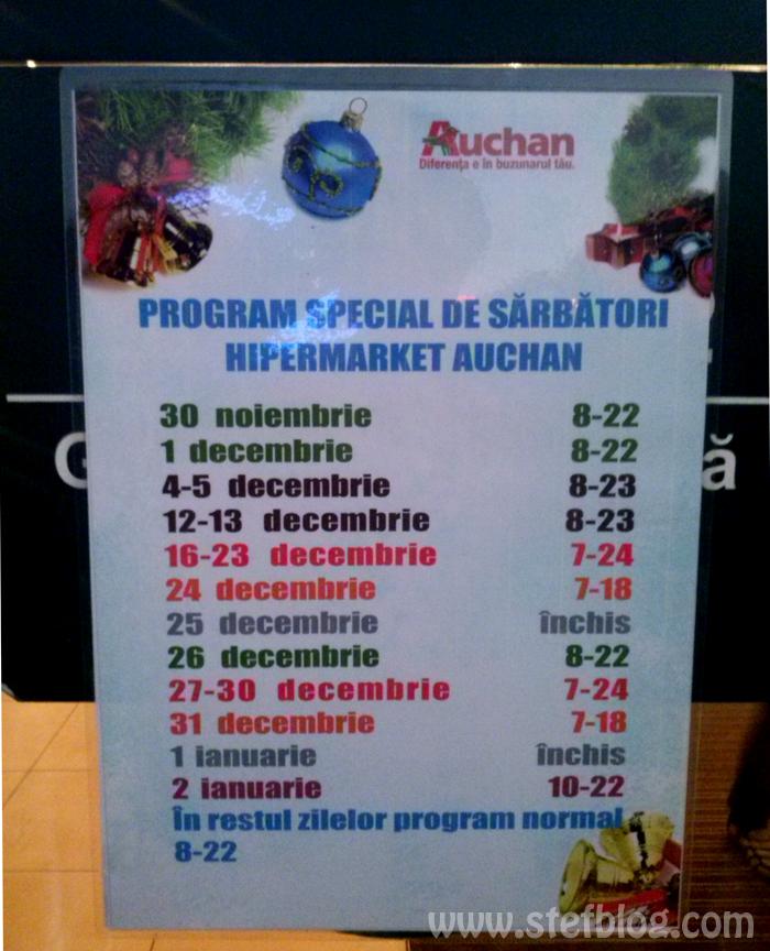 Auchan program de sarbatori