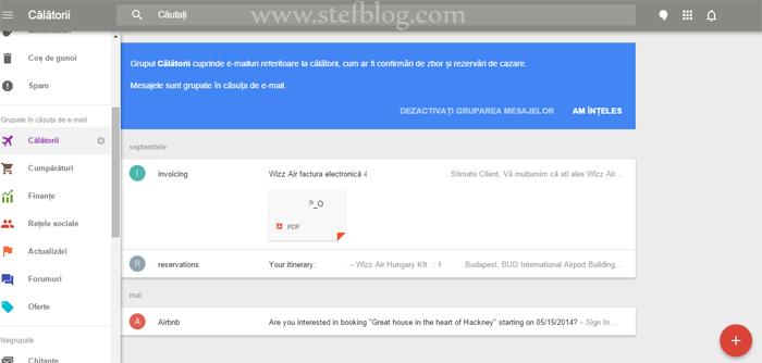 Google Inbox - grupare mesajelor
