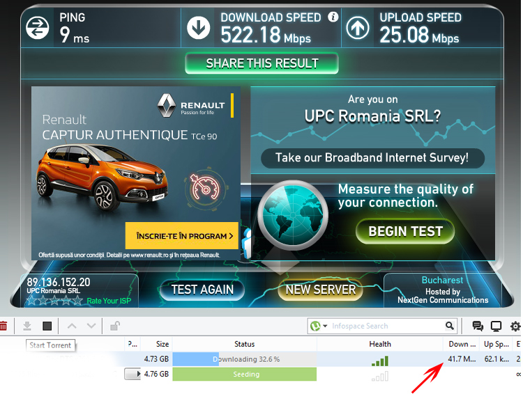 Speed test - UPC Fiber Power 500